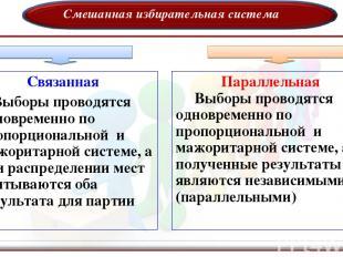 Смешанная избирательная система Связанная Выборы проводятся одновременно по проп