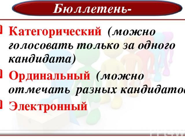 Бюллетень- Категорический (можно голосовать только за одного кандидата) Ординальный (можно отмечать разных кандидатов) Электронный