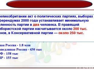По закону «О политических партиях» 2001 г.- минимальная численность партии в РФ