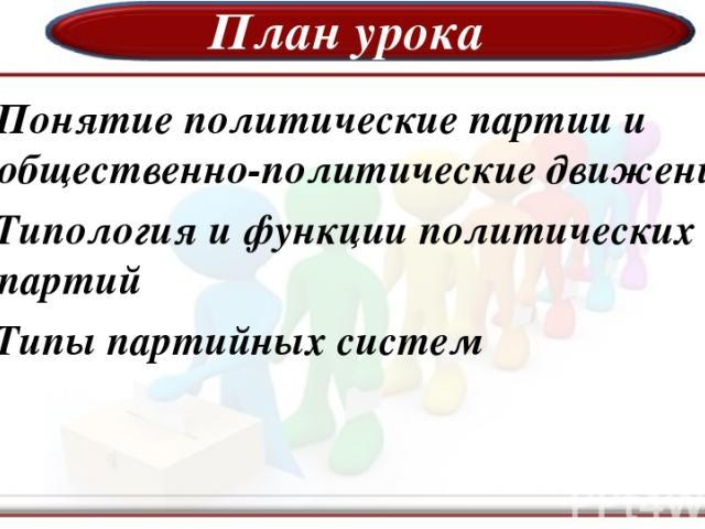 План урока 1.Понятие политические партии и общественно-политические движения 2.Типология и функции политических партий 3.Типы партийных систем