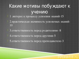 Какие мотивы побуждают к учению 1 .интерес к процессу усвоения знаний-15 2.практ