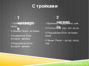 С тройками 1 четверть 2 четверть 1.Григорьева Настя –геогр, 2.Закиев Ренат- исто