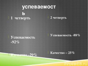 успеваемость 1 четверть Успеваемость -92% Качество -29% 2 четверть Успеваемость