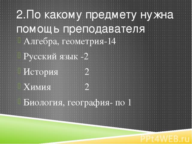 2.По какому предмету нужна помощь преподавателя Алгебра, геометрия-14 Русский язык -2 История 2 Химия 2 Биология, география- по 1