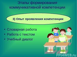 Словарная работа Работа с текстом Учебный диалог Этапы формирования коммуникатив