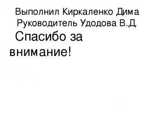 Выполнил Киркаленко Дима Руководитель Удодова В.Д. Спасибо за внимание!