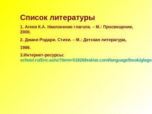 Список литературы 1. Агеев К.А. Наклонение глагола. – М.: Просвещение, 2000. 2.