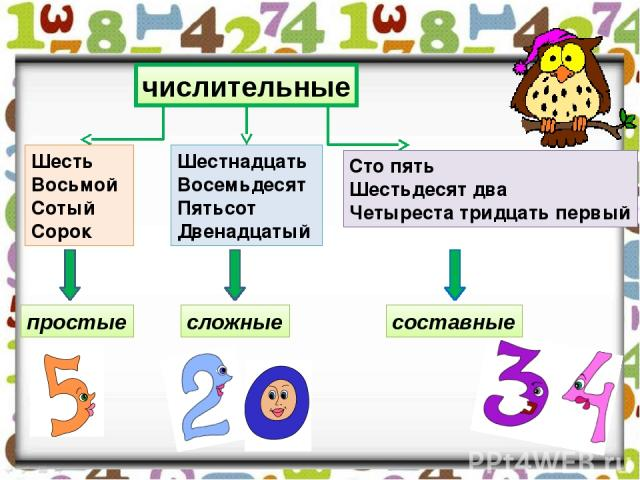 числительные Шесть Восьмой Сотый Сорок Шестнадцать Восемьдесят Пятьсот Двенадцатый Сто пять Шестьдесят два Четыреста тридцать первый простые сложные составные