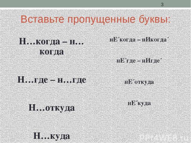 Вставьте пропущенные буквы: Н…когда – н…когда Н…где – н…где Н…откуда Н…куда нЕ´когда – нИкогда´ нЕ´где – нИгде´ нЕ´откуда нЕ´куда
