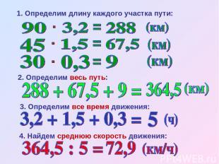 3. Определим все время движения: 2. Определим весь путь: 1. Определим длину кажд