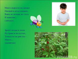 Много выросло на грядке Овощей и ягод сладких, Ваня, не помыв, их съел, И животи