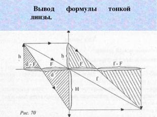 Вывод формулы тонкой линзы.