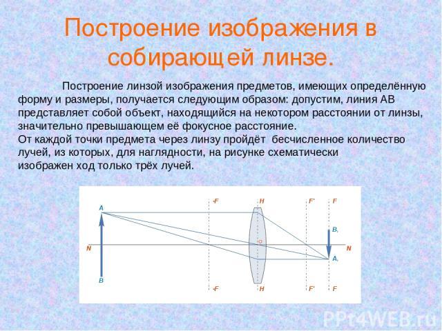 Построение изображения в собирающей линзе. Построение линзой изображения предметов, имеющих определённую форму и размеры, получается следующим образом: допустим, линия AB представляет собой объект, находящийся на некотором расстоянии от линзы, значи…