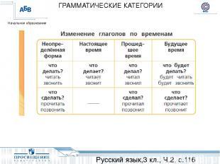 Русский язык,3 кл., Ч.2, с.116 ГРАММАТИЧЕСКИЕ КАТЕГОРИИ Начальное образование