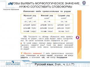 Русский язык, 3 кл., ч. 2,с.73 ЧТОБЫ ВЫЯВИТЬ МОРФОЛОГИЧЕСКОЕ ЗНАЧЕНИЕ, НУЖНО СОП