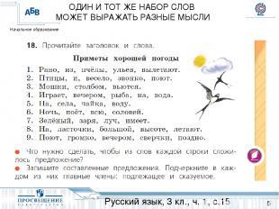 ОДИН И ТОТ ЖЕ НАБОР СЛОВ МОЖЕТ ВЫРАЖАТЬ РАЗНЫЕ МЫСЛИ Русский язык, 3 кл., ч. 1,