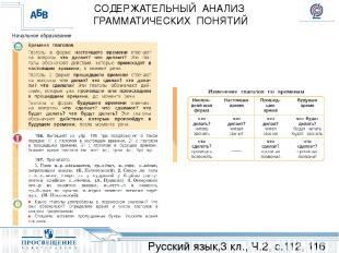 Русский язык,3 кл., Ч.2, с.112, 116 СОДЕРЖАТЕЛЬНЫЙ АНАЛИЗ ГРАММАТИЧЕСКИХ ПОНЯТИЙ