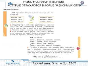 Русский язык, 3 кл., ч. 2, с.72-73 ГРАММАТИЧЕСКИЕ ЗНАЧЕНИЯ, КОТОРЫЕ ОТРАЖАЮТСЯ В