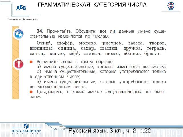 Русский язык, 3 кл., ч. 2, с.22 ГРАММАТИЧЕСКАЯ КАТЕГОРИЯ ЧИСЛА Начальное образование