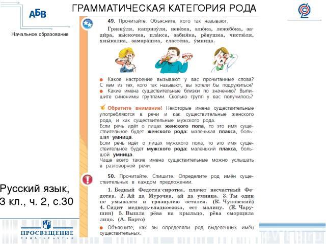 Русский язык, 3 кл., ч. 2, с.30 ГРАММАТИЧЕСКАЯ КАТЕГОРИЯ РОДА Начальное образование