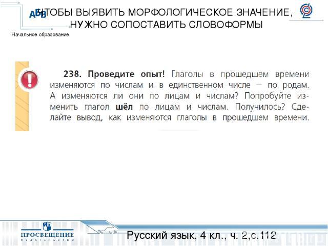 Русский язык, 4 кл., ч. 2,с.112 ЧТОБЫ ВЫЯВИТЬ МОРФОЛОГИЧЕСКОЕ ЗНАЧЕНИЕ, НУЖНО СОПОСТАВИТЬ СЛОВОФОРМЫ Начальное образование