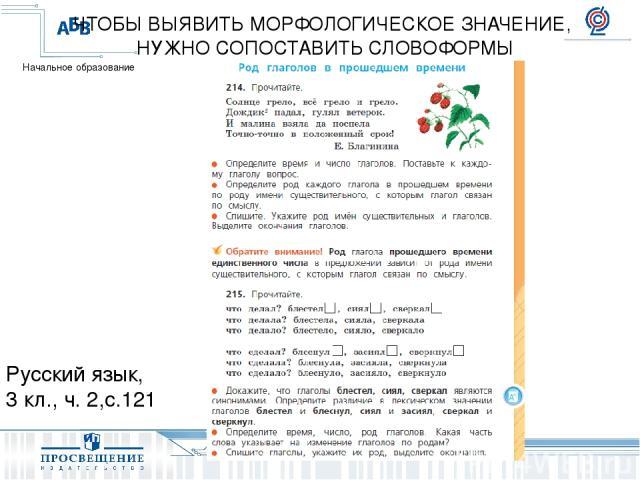 Русский язык, 3 кл., ч. 2,с.121 ЧТОБЫ ВЫЯВИТЬ МОРФОЛОГИЧЕСКОЕ ЗНАЧЕНИЕ, НУЖНО СОПОСТАВИТЬ СЛОВОФОРМЫ Начальное образование