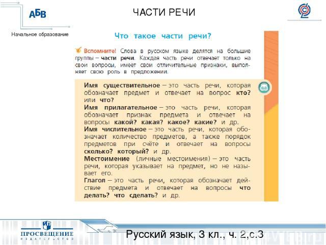 Русский язык, 3 кл., ч. 2,с.3 ЧАСТИ РЕЧИ Начальное образование
