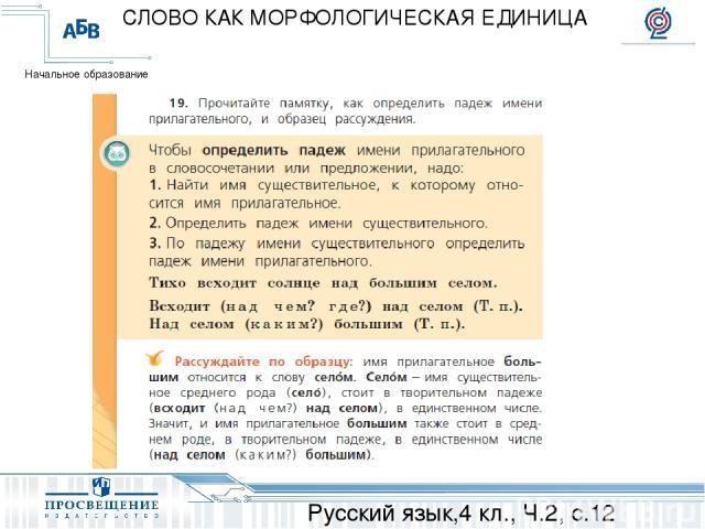 Русский язык,4 кл., Ч.2, с.12 СЛОВО КАК МОРФОЛОГИЧЕСКАЯ ЕДИНИЦА Начальное образование