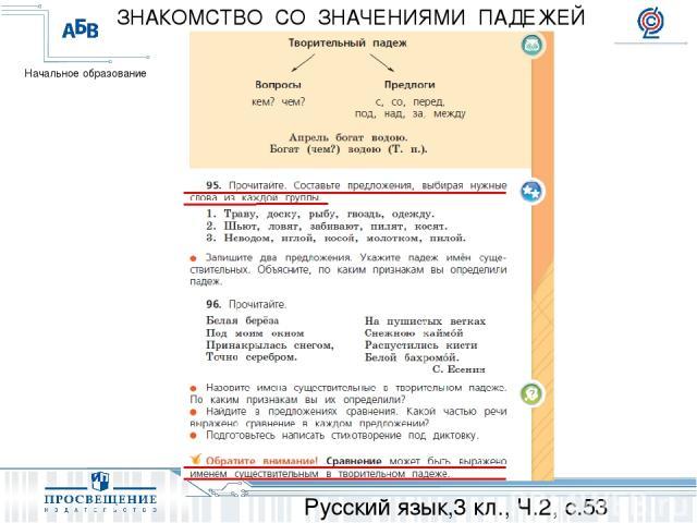Русский язык,3 кл., Ч.2, с.53 ЗНАКОМСТВО СО ЗНАЧЕНИЯМИ ПАДЕЖЕЙ Начальное образование