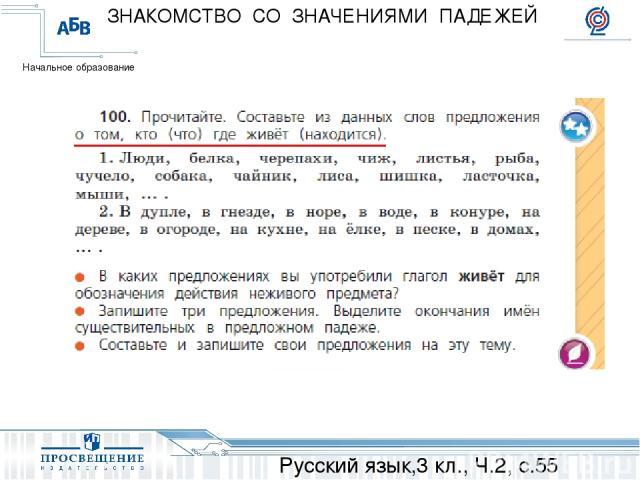 Русский язык,3 кл., Ч.2, с.55 ЗНАКОМСТВО СО ЗНАЧЕНИЯМИ ПАДЕЖЕЙ Начальное образование