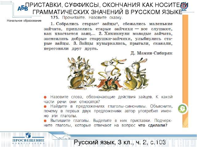 Русский язык, 3 кл., ч. 2, с.103 ПРИСТАВКИ, СУФФИКСЫ, ОКОНЧАНИЯ КАК НОСИТЕЛИ ГРАММАТИЧЕСКИХ ЗНАЧЕНИЙ В РУССКОМ ЯЗЫКЕ Начальное образование