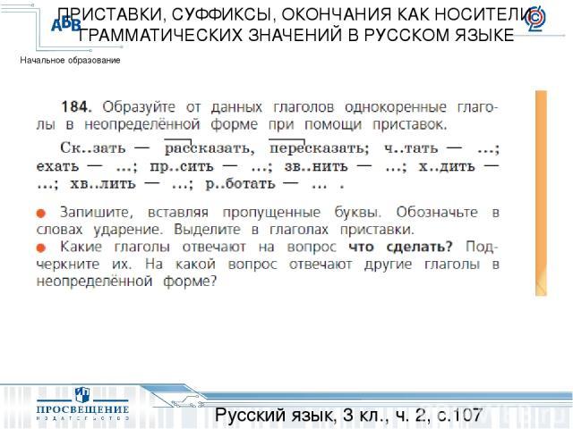 Русский язык, 3 кл., ч. 2, с.107 ПРИСТАВКИ, СУФФИКСЫ, ОКОНЧАНИЯ КАК НОСИТЕЛИ ГРАММАТИЧЕСКИХ ЗНАЧЕНИЙ В РУССКОМ ЯЗЫКЕ Начальное образование