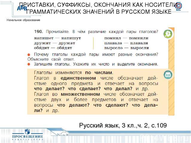 Русский язык, 3 кл.,ч. 2, с.109 ПРИСТАВКИ, СУФФИКСЫ, ОКОНЧАНИЯ КАК НОСИТЕЛИ ГРАММАТИЧЕСКИХ ЗНАЧЕНИЙ В РУССКОМ ЯЗЫКЕ Начальное образование