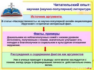 Читательский опыт: научная (научно-популярная) литература Источник аргумента В с