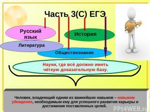Часть 3(С) ЕГЭ Русский язык История Обществознание Литература Человек, владеющий