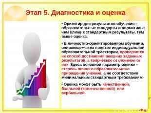 Этап 5. Диагностика и оценка Ориентир для результатов обучения – образовательные