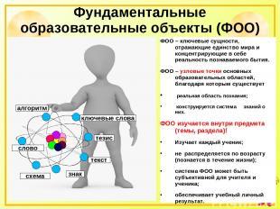 Фундаментальные образовательные объекты (ФОО) ФОО – ключевые сущности, отражающи