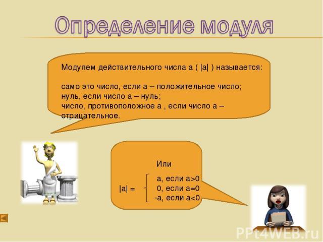 Модулем действительного числа а ( |а| ) называется: само это число, если а – положительное число; нуль, если число а – нуль; число, противоположное а , если число а – отрицательное. Или а, если а>0 0, если а=0 -а, если а