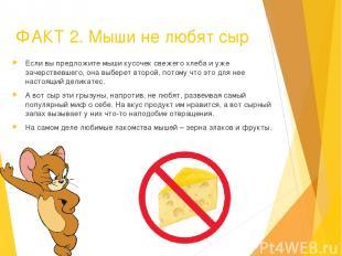 ФАКТ 2. Мыши не любят сыр Если вы предложите мыши кусочек свежего хлеба и уже за