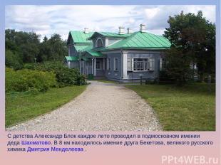 С детства Александр Блок каждое лето проводил в подмосковном имении дедаШахмато