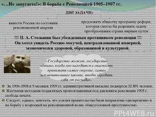 «…Не запугаете!»: В борьбе с Революцией 1905–1907 гг. ДВЕ ЗАДАЧИ: вывести Россию