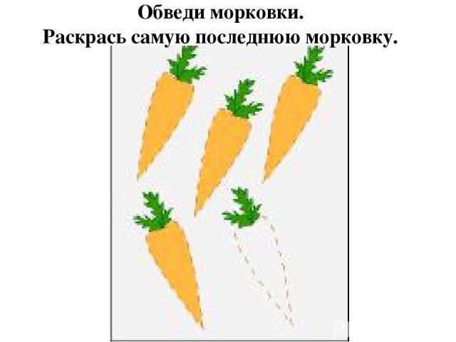 Обведи морковки. Раскрась самую последнюю морковку.