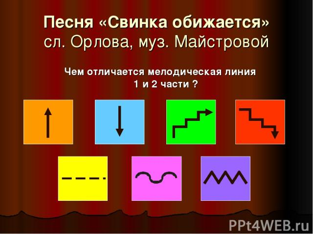 Песня «Свинка обижается» сл. Орлова, муз. Майстровой Чем отличается мелодическая линия 1 и 2 части ?