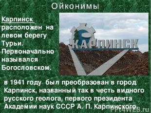 Карпинск расположен на левом берегу Турьи. Первоначально назывался Богословском.