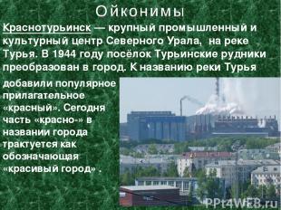 Краснотурьинск— крупный промышленный и культурный центр Северного Урала, на рек