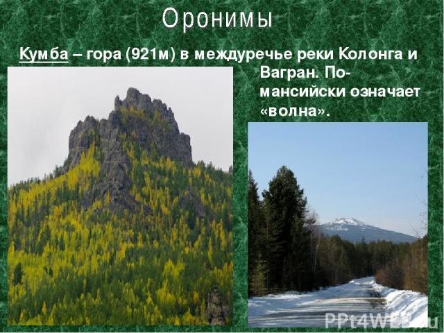 Кумба – гора (921м) в междуречье реки Колонга и Вагран. По-мансийски означает «волна».