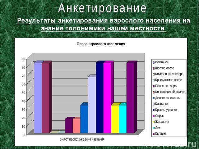 Результаты анкетирования взрослого населения на знание топонимики нашей местности