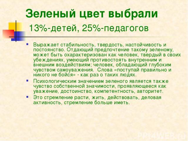 Зеленый цвет выбрали 13%-детей, 25%-педагогов Выражает стабильность, твердость, настойчивость и постоянство. Отдающий предпочтение такому зеленому, может быть охарактеризован как человек, твердый в своих убеждениях, умеющий противостоять внутренним …