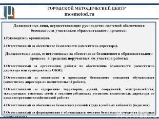 ГОРОДСКОЙ МЕТОДИЧЕСКИЙ ЦЕНТР mosmetod.ru Должностные лица, осуществляющие руково