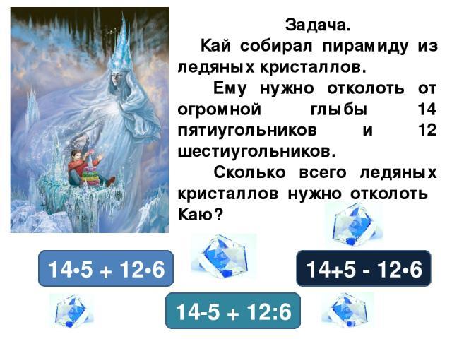 Задача. Кай собирал пирамиду из ледяных кристаллов. Ему нужно отколоть от огромной глыбы 14 пятиугольников и 12 шестиугольников. Сколько всего ледяных кристаллов нужно отколоть Каю? 14•5 + 12•6 14+5 - 12•6 14-5 + 12:6